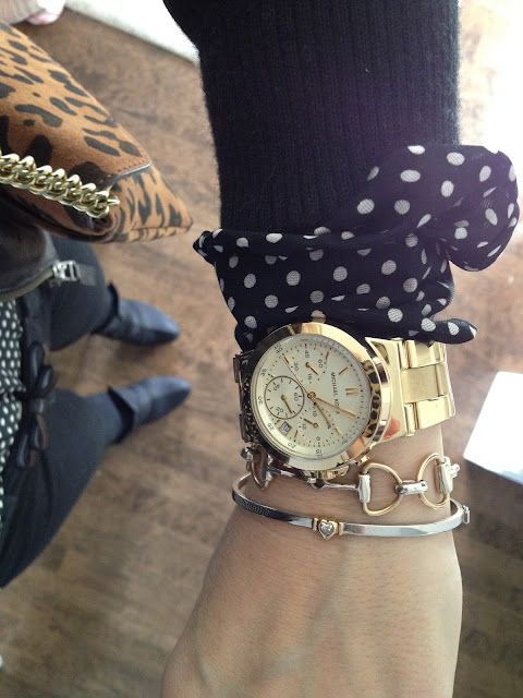 polka dots,oversized gold watch, horsebit and heart bracelets