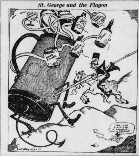 The 18th amendment-also known as the prohibition amendment-was repealed on this date in 1933 with the ratification of the 21st amendment. Prohibition proved difficult to enforce, and The Pensacola journal ran an editorial cartoon addressing the problem on November 20, 1920