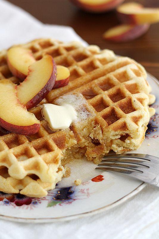 Maple Cornbread Waffles by girlversusdough #Waffles #Cornbread #Maple