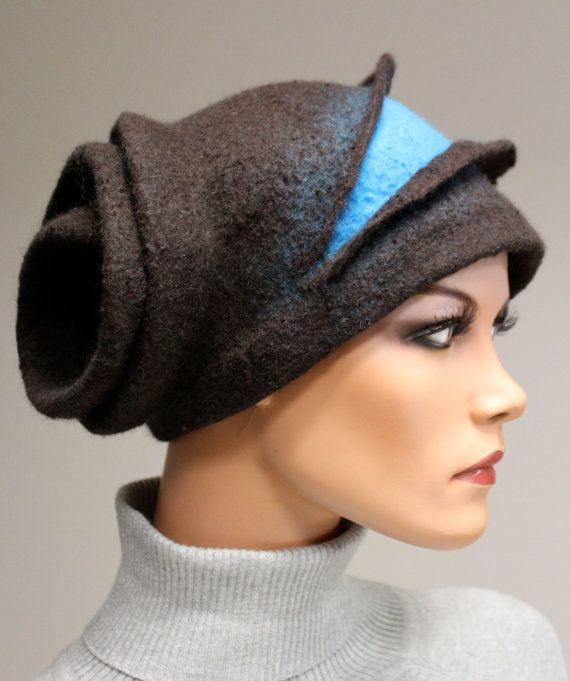 Felted sculpture hat Stylish madam par DosethHandmade sur Etsy