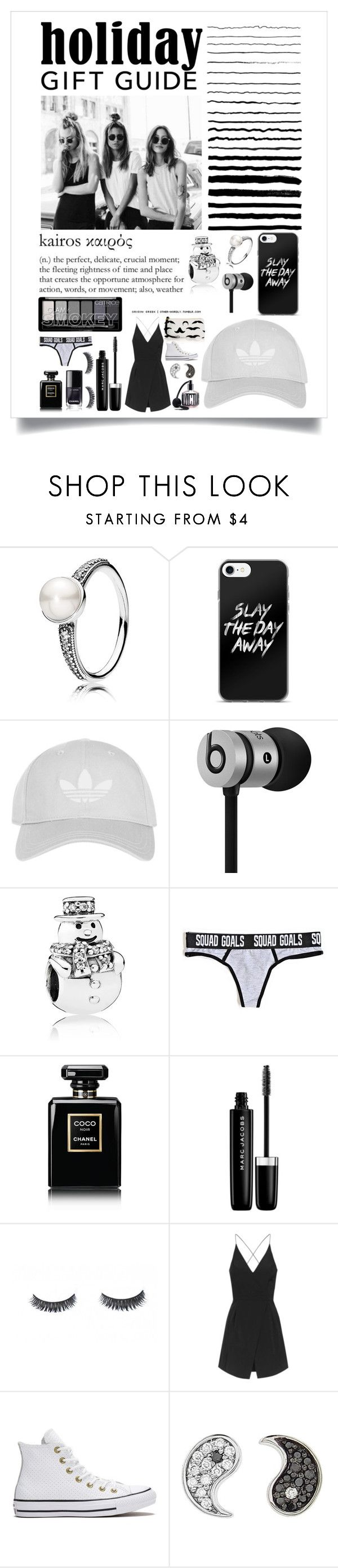"""Gift guide in black and white!"" by rhiannonpsayer on Polyvore featuring Kye, Pandora, Topshop, Beats by Dr. Dre, Chanel, Marc Jacobs, Converse, Sydney Evan and Victoria's Secret"
