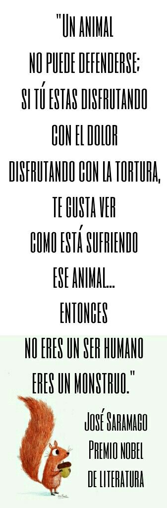 Animalista - Saramago, Premio nobel de literatura #animales #derechos #liberación #animals #rights #liberation