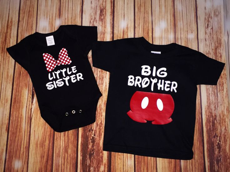 Disney Family Matching Shirt Set, Big Brother Little Sister Disney Shirt, Little Brother, Big Sister, Mickey Mouse, Minnie Mouse by LittleJaneLaneDesign on Etsy https://www.etsy.com/listing/485568015/disney-family-matching-shirt-set-big