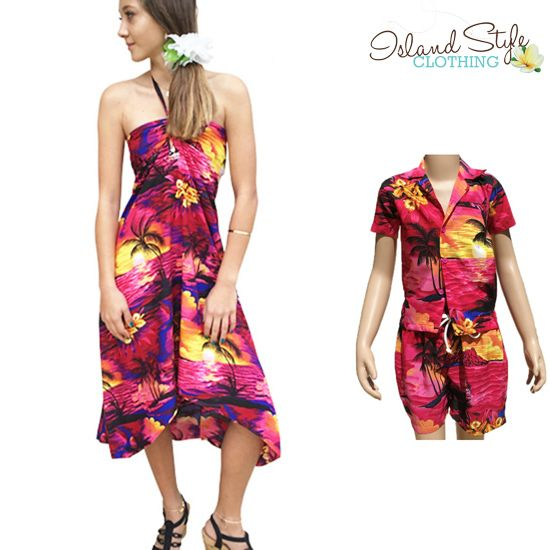 Mother & Son Set in Pink Sunset Tropical Print. Butterfly Dress & Boys Cabana Set http://islandstyleclothing.com.au/matching-sets