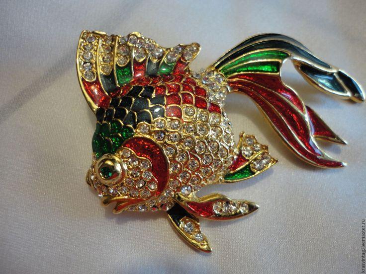 """Купить Брошь """"Рыбка"""" - комбинированный, брошь, брошь винтаж, брошь винтажная, брошь рыбка"""