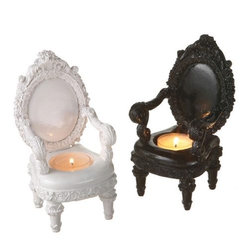 Love this mini baroque chair tea candle holders let for Plastic baroque furniture