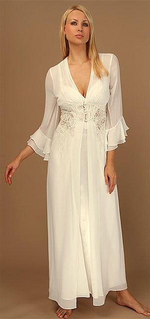 "The Kathryn matching chiffon robe features a sweeping skirt with a corded lace bodice and ruffled sleeves. Pairs with the Kathryn gown to create a lovely peignoir set. Satin covered button front closure. 57"" long. Designed by Jonquill. Price: $164"