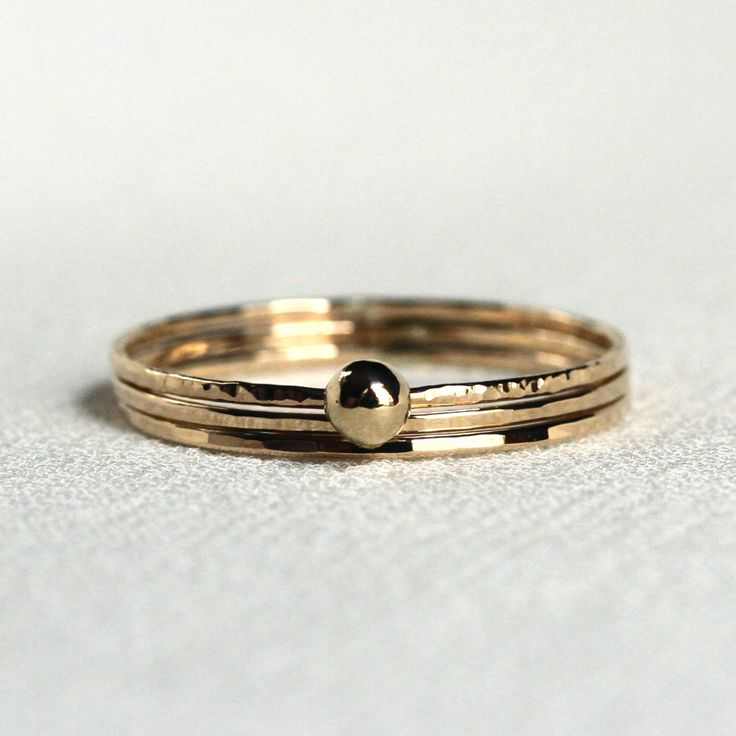 Three SOLID 14k Gold Rings - White Yellow or Rose - Simple and Tiny SOLID Gold Stack Rings - One with a SOLID 14k Gold Mirror Ball