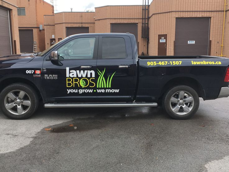 Great truck decal by Speedpro Imaging Oakville for Lawn Bros! Getting noticed!