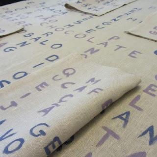 "my ""Alphabet soup"" tablecloth  http://paulacastrocrafts.blogspot.pt/2012/03/typography-challenge-done.html"