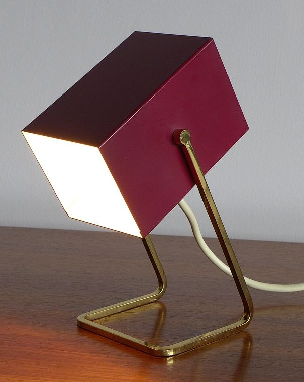 Christian Dell; #45097 Enameled Steel and Brass Table Lamp for Gebr. Kaiser & Co., 1950.
