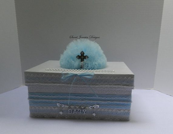 Blue U0026 White Christening Baptism Baby Shower Card Box Baby Boy