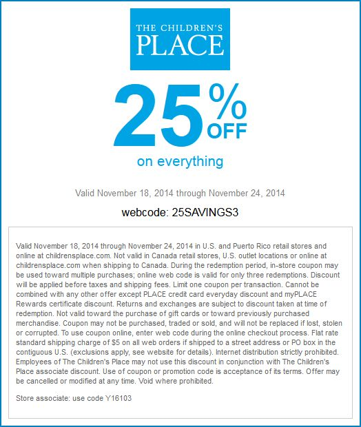 Pinned November 21st: 25% off everything at The #Childrens Place, or online via promo code 25SAVINGS3 #coupon via The #Coupons App