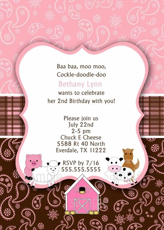 Pink Farm Birthday party invitation / chocolate / barn animals / printable digital file. $12.00, via Etsy.