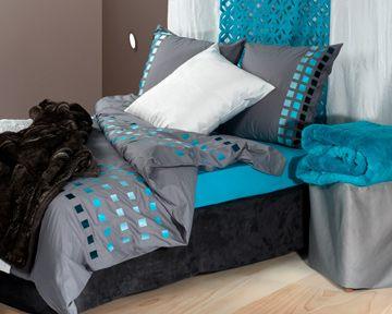 parure de lit bleu turquoise percale brode square 140 x 200 cm madura