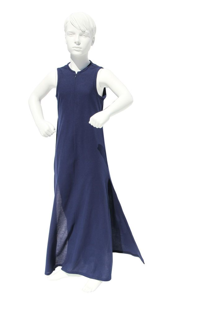 PEACE LILY SLEEVELESS LONG COTTON PIQUE GIRLS DRESS NAVY WITH SIDE SPLITS. GIRLS SIZE 10