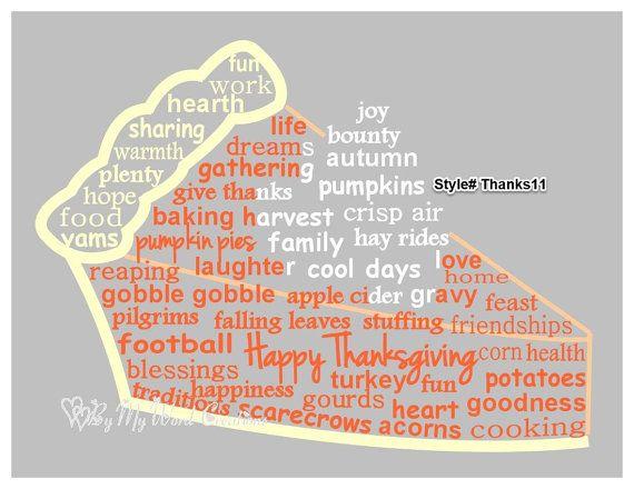 Handmade Thanksgiving Pumpkin Pie word art by ByMyWordCreations, $20.00