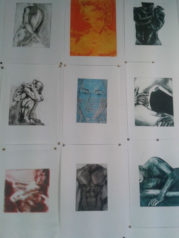 "Printmaking grid ""Body series"" using different techniques such as monotypes, collagraph, drypoint and photopolymer etchings"