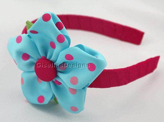 Personalized Ribbon Flower  headband