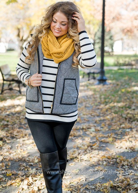 Herringbone Vest  + Stripes + Mustard = perfection! With Family photos approaching. This is a must have for your fall wardrobe! #fall #style #favorite