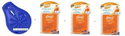 Off! Clip-On Mosquito Repellent Set - 1 Repellent + 6 Refills by Off!. $29.95. Effective Protection: Within minutes, OFF! Clip-On repellent provides personal protection from mosquitoes. If you move, allow a few minutes for the unit to rebuild its protection. Protects against mosquitoes that may carry West Nile Virus  No Skin Application Unlike ordinary personal repellents, OFF!® Clip-OnTM repellent provides mosquito protection without putting anything on your skin. Fan Pow...