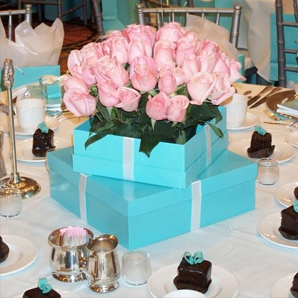 Tiffany Boxes And Pink Roses.so Pretty And Perfect For Bridal Shower.