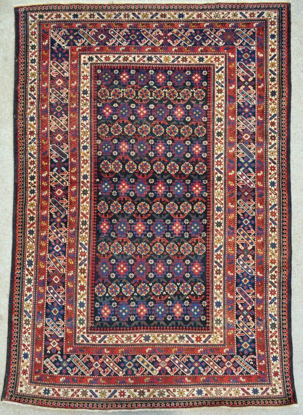 Antique Caucasian Chichi/Kuba Rug - 4'4 x 6'5