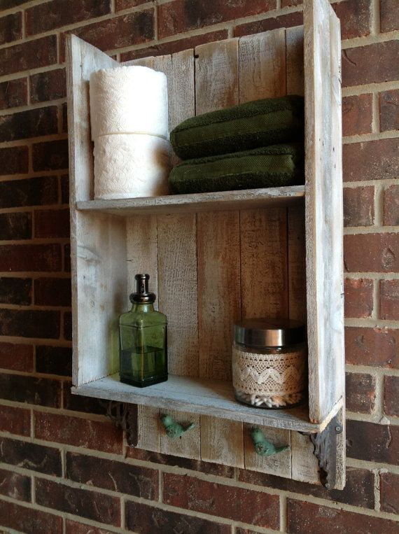 Reclaimed wood bathroom shelf. So cute! Perfect for my little bathroom.