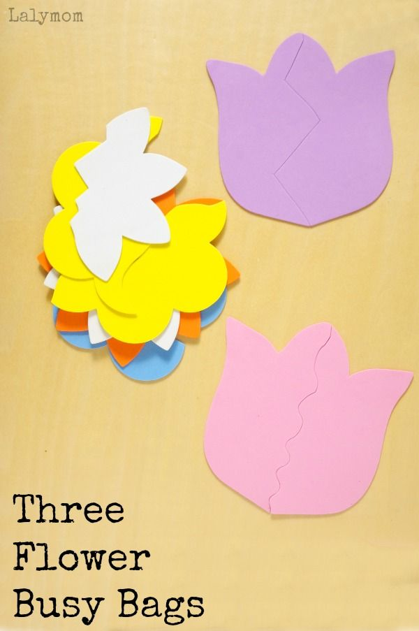 Three Fun Flower Busy Bags- Part of the Busy Bags Blog Hop! This month's theme is Spring- click through to see all the busy bag  ideas!