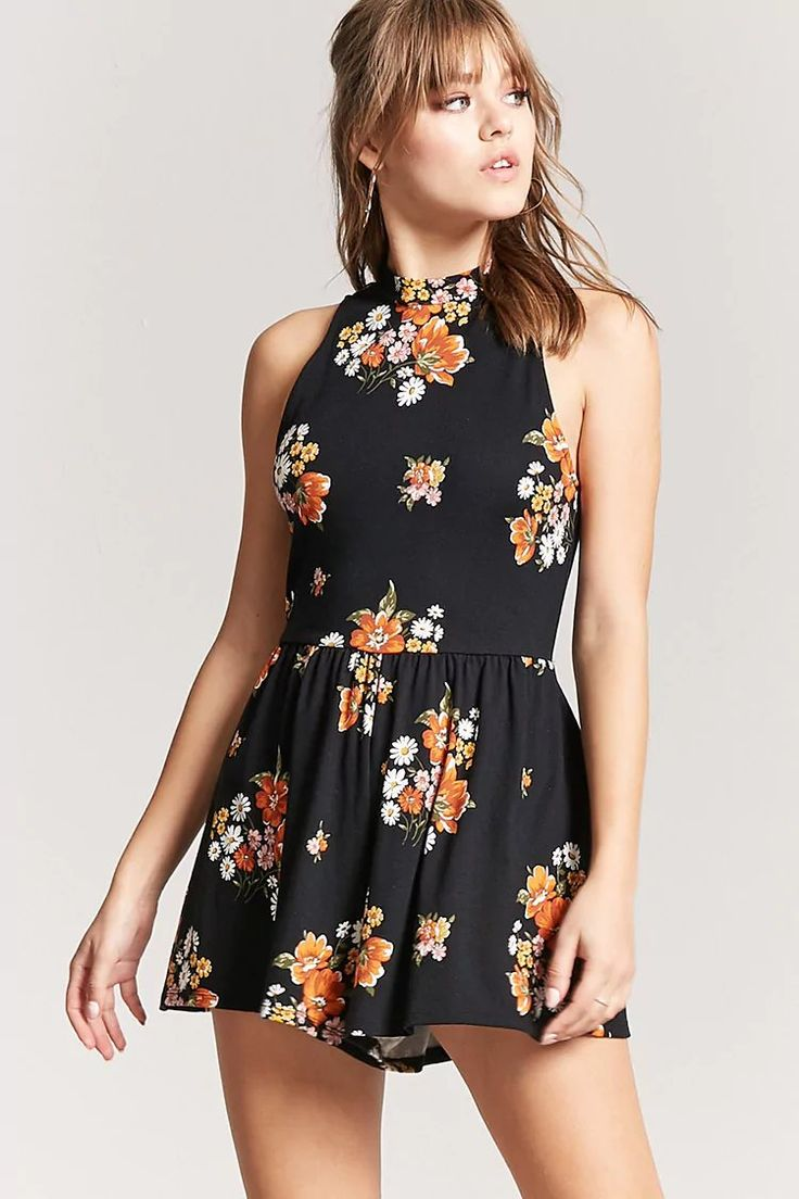 Product Name:Floral Cutout Romper, Category:dress, Price:15.9