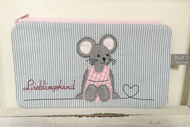 Federmäppchen - Mäusemädchen-Mäppchen - ein Designerstück von Stoff-Foermchen bei DaWanda