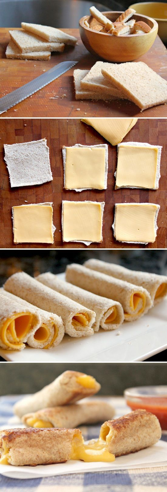Grilled Cheese Rolls | Takes an ordinary grilled cheese and makes it fun! Great for dipping in soup, too. :)