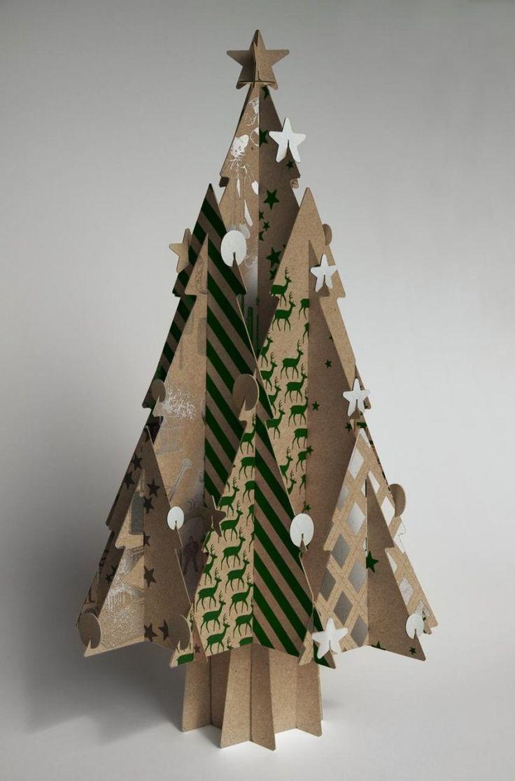 décoration de Noël à fabriquer- sapin 3D en carton recyclé
