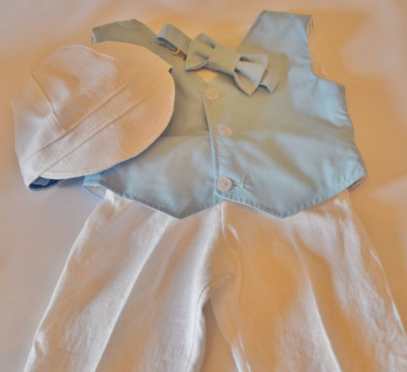 Blue and white baby suit.  Sky blue vest and by CuppyCakeClothing