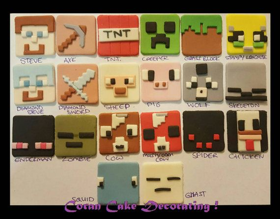 Check out this item in my Etsy shop https://www.etsy.com/au/listing/399790407/edible-fondant-minecraft-cupcake-toppers