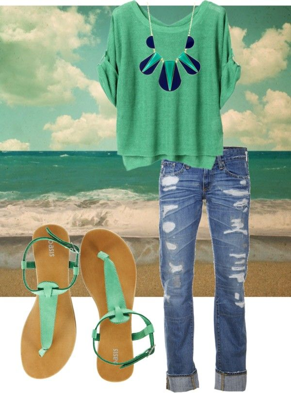 Green and denim: Beach Outfit, Style, Plus Size, Dream Closet, Spring Summer, Summer Outfits, Summer Summer