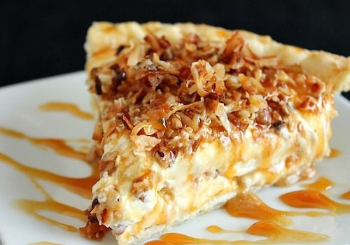 This Toasted Coconut and Pecan with Carmel and Cream Cheese is the richest, most decadent pie that is truly to die for. Recipes by Rose
