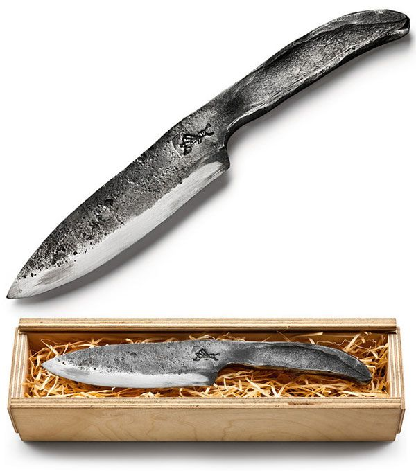 Singe Piece Hand Forged Steel Chefs Knife By Luneburg Black Forge
