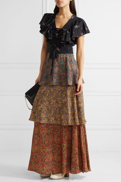 Philosophy di Lorenzo Serafini - Tiered Lace-up Printed Cady Maxi Dress - Navy - IT48