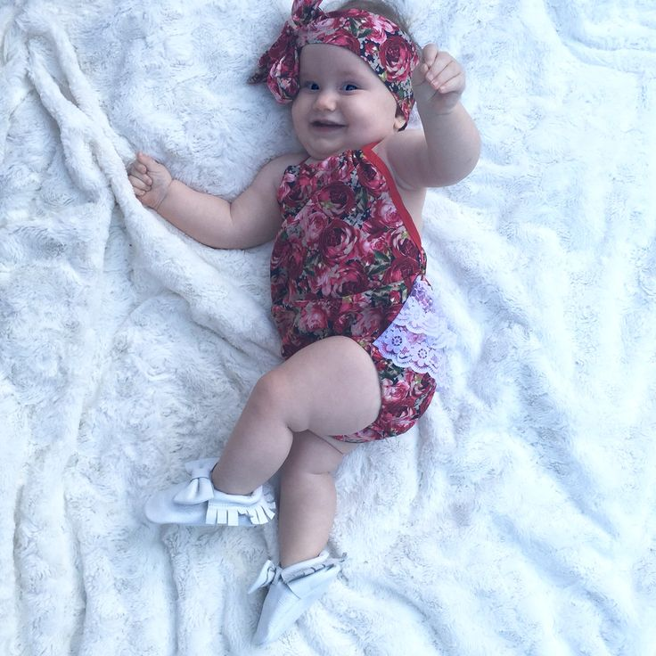 Cutie in her gorgeous floral and lace playsuit and Snow White moccasins! Matching headwrap to boot! Love it all www.madelinespocket.com.au xx