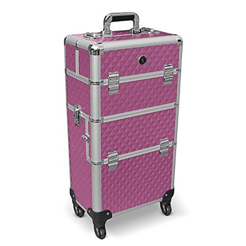 #Aluminium Trolley Koffer Schminkkoffer Pilotenkoffer Visagistenkoffer Friseurkoffer in Lila…