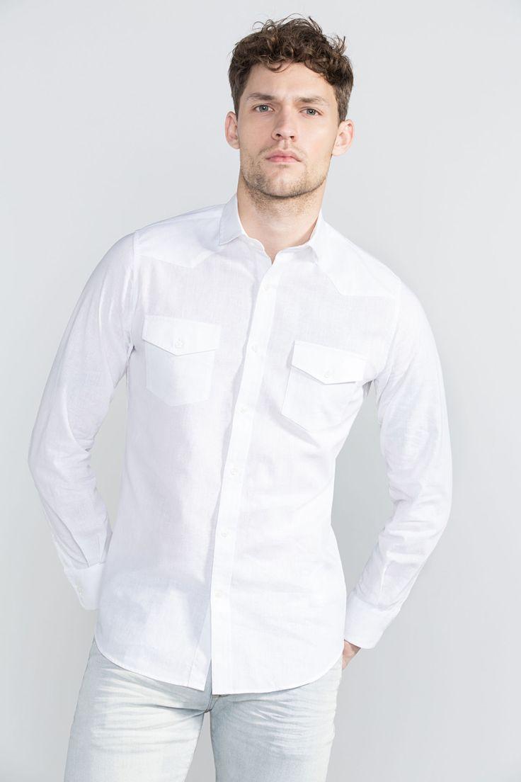 #Ganga #Branca: #White #mood on! #denim #WhiteDenim #camisa #cortefiel