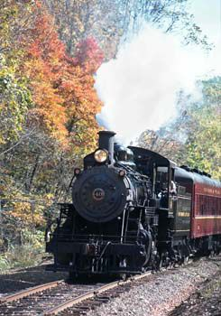 All aboard the New Hope & Ivyland Railroad! Relax as you travel through the rolling hills of Bucks County on a restored 1920s vintage passenger coach and steam locomotive.