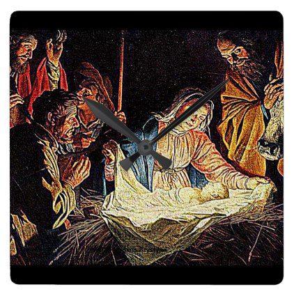 THE NATIVITY #6 SQUARE WALL CLOCK - Xmas ChristmasEve Christmas Eve Christmas merry xmas family kids gifts holidays Santa
