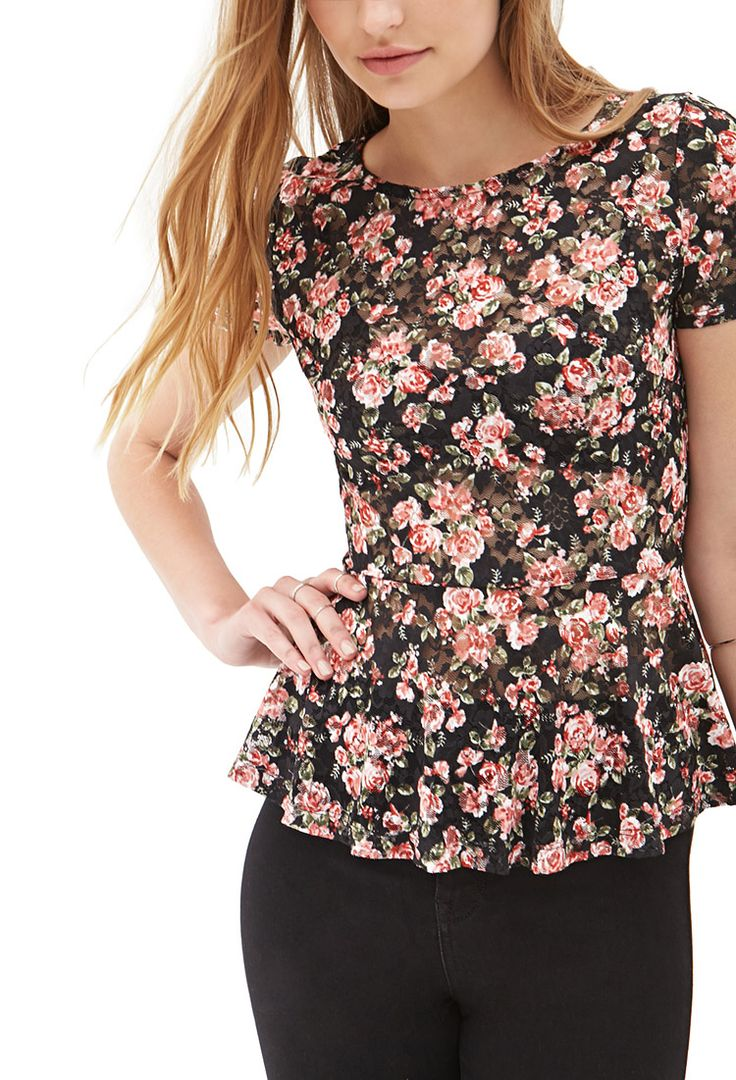 Floral Lace Peplum Top #SummerForever