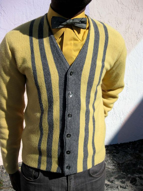 1960s Gold & Gray Cardigan Sweater  Mad Men by YesterDazeVintageFL, $39.50