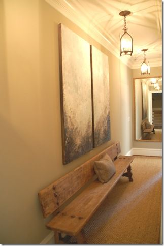 church foyer furniture. cool reclaimed bench in a hallway church foyer furniture