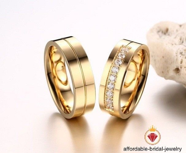1 50 Ct Lab Diamond Yellow Gold Plated Couple Ring Men Women