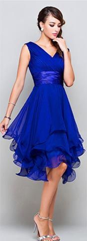 A-Line Princess V-Neck Short Royal Blue Chiffon Prom Bridesmaid Party Dresses