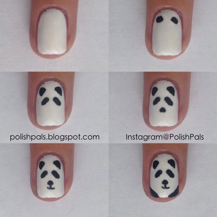 Panda Bear Nail Art Tutorial by Polish Pals